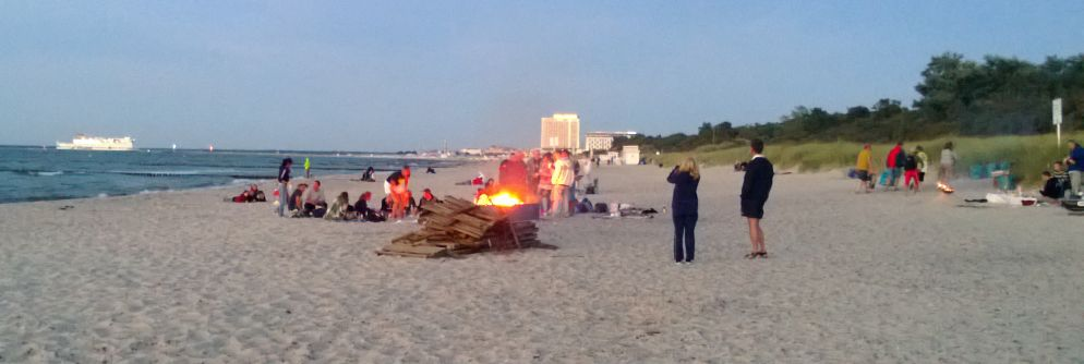 View from the Bonefire-spot at beach towards Warnemünde