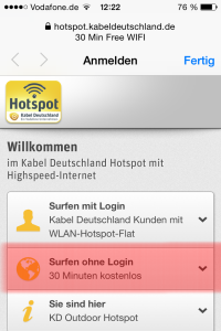 "Step 2: ""Surfen ohne Login"""