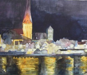 Rostock's Old Town with St Peter's and St Nikolai's church by night  © watercolour by Frank Koebsch https://frankkoebsch.wordpress.com/tag/altstadt/